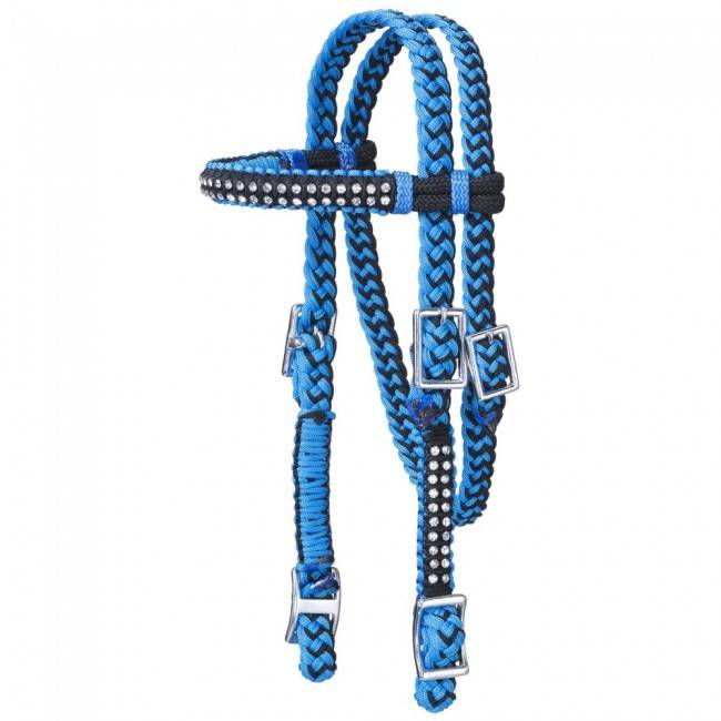 Tough-1 Braided Cord Mini Browband Headstall With Crystal Accents