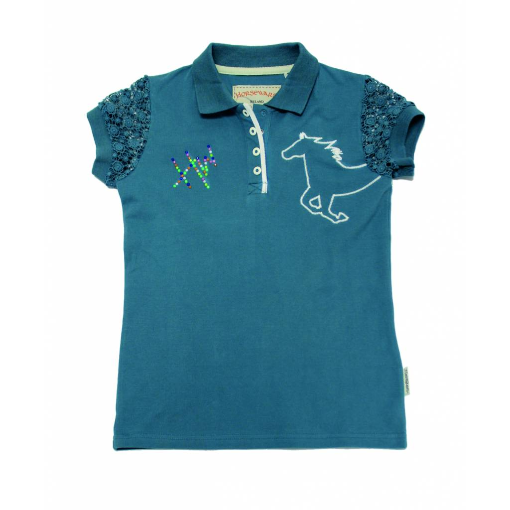 Horseware Girls Long Sleeve Pique Polo Shirt