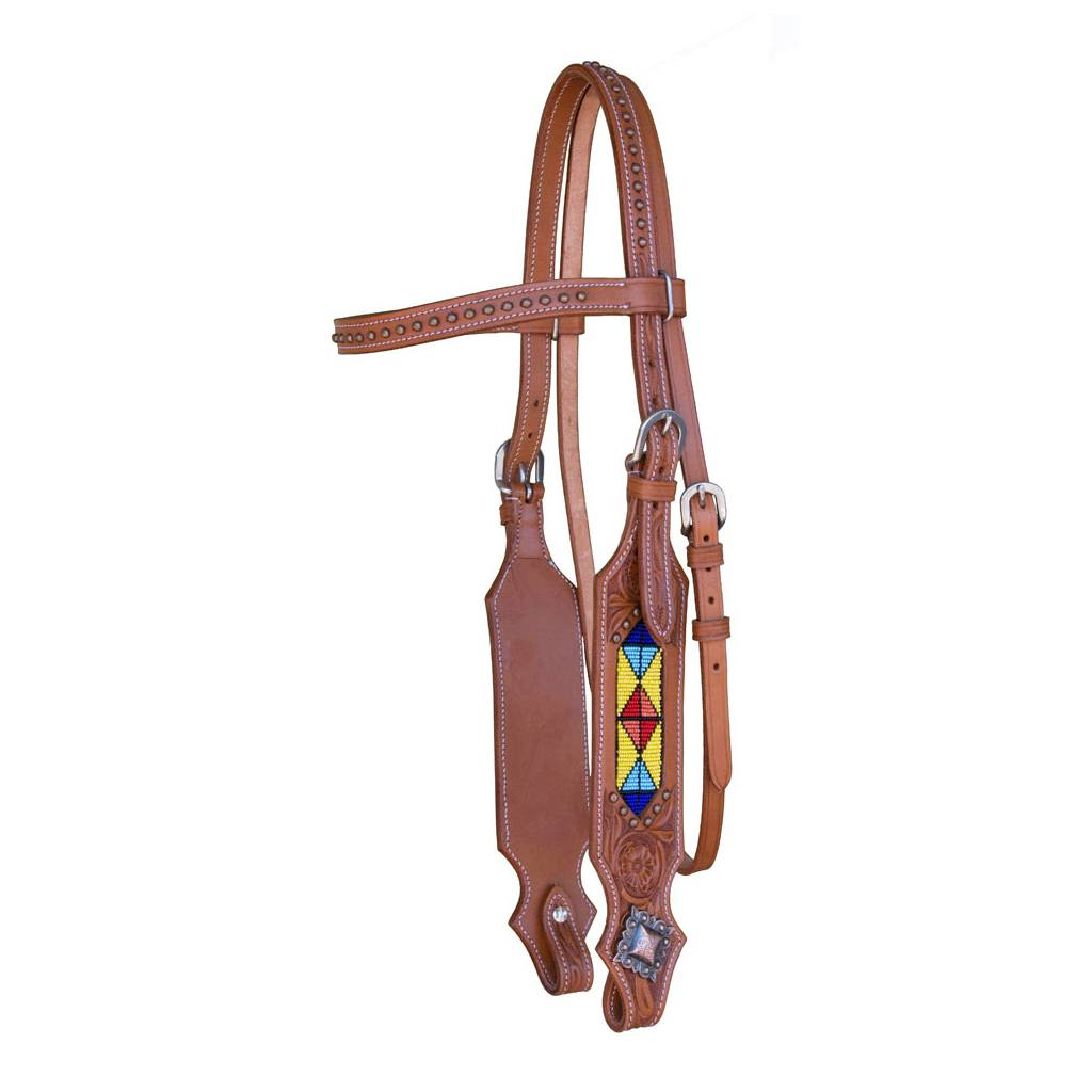 Western Headstall with Studded Brow and Beading