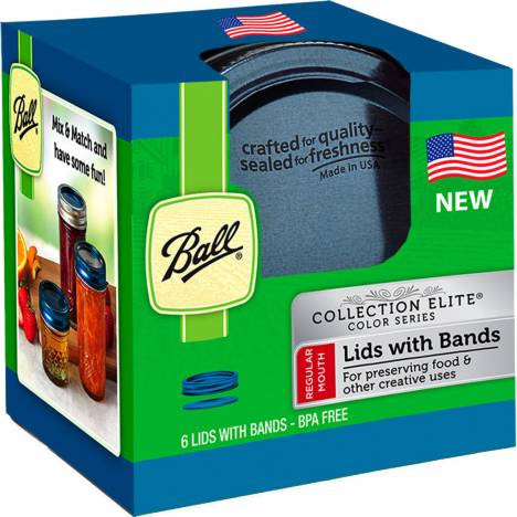 Ball Regular Mouth Colored Lids With Bands
