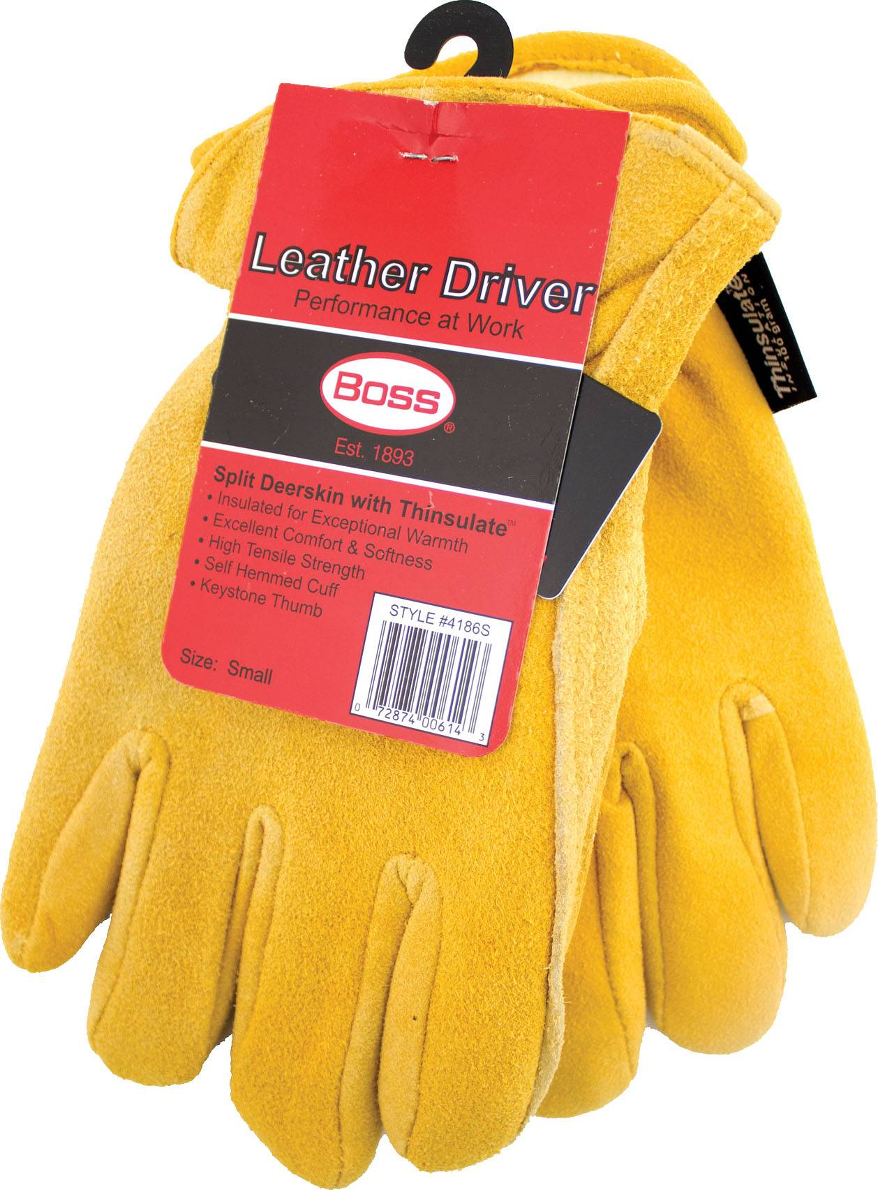 Boss Therm Insulated Split Deerskin Driver Glove