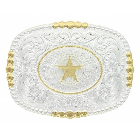 Montana Silversmiths Two Tone Pioneer Portrait Concho Star Buckle