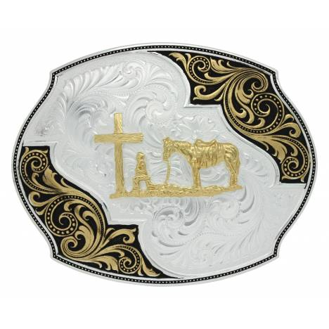 Montana Silversmiths Two Tone Western Lace Whisper Christian Cowboy Buckle