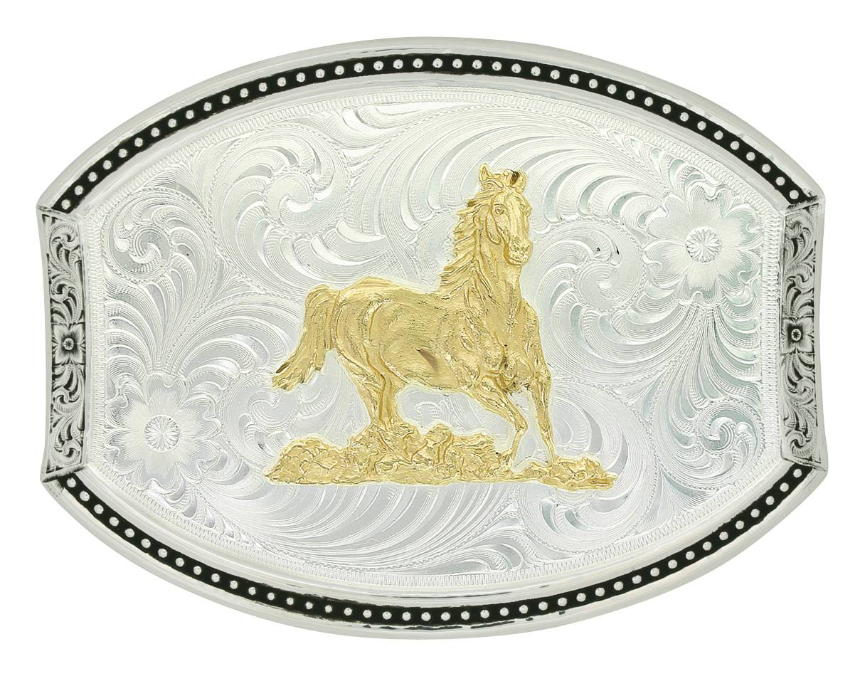 Montana Silversmiths Cut Oval Star Light Buckle WithRunning Horse