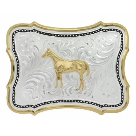 Montana Silversmiths Two Tone Scalloped Point Standing Horse Buckle
