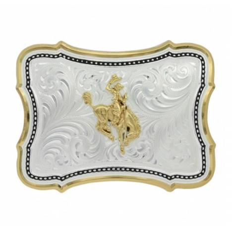 Montana Silversmiths Two Tone Scalloped Point Ranch Bucking Horse Buckle