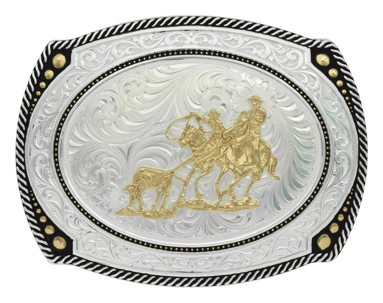 Montana Silversmiths Large Cameo Roped Buckle With Team Roper