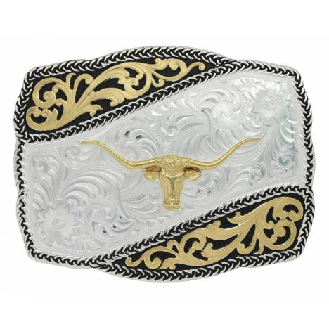 Montana Silversmiths Two Tone Braided Wave Longhorn Steer Buckle