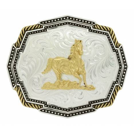 Montana Silversmiths Two Tone Polygon Roped Corners Running Horse Buckle