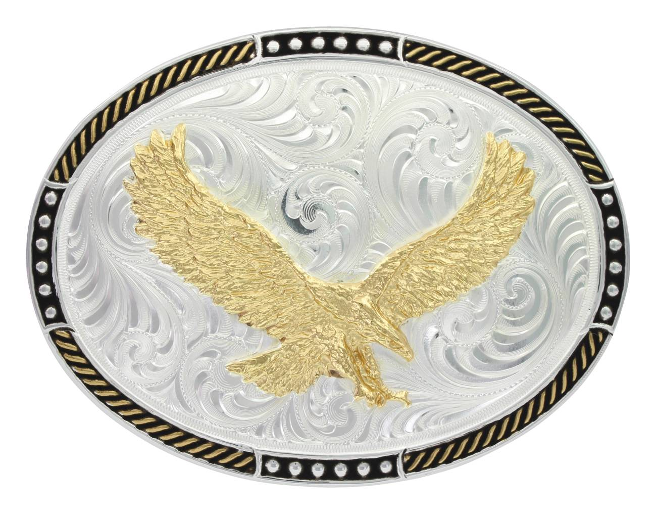 Montana Silversmiths Two Tone Stop Ties Oval Soaring Eagle Belt Buckle
