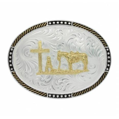 Montana Silversmiths Two Tone Stop Ties Oval Christian Cowboy Belt Buckle