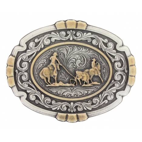 Montana Silversmiths Classic Two Tone Team Roper Cameo Oval Attitude Buckle