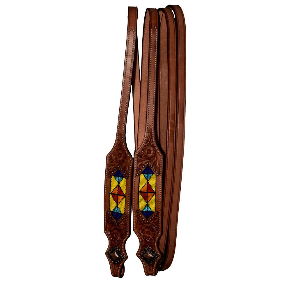 Intrepid Western Reins With Yellow Beading And Metal Studs
