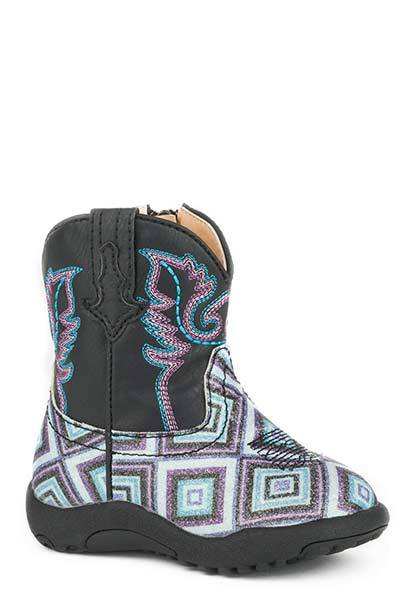Roper Cowbabies Infant Glitter Diamonds Fashion Leather Boot