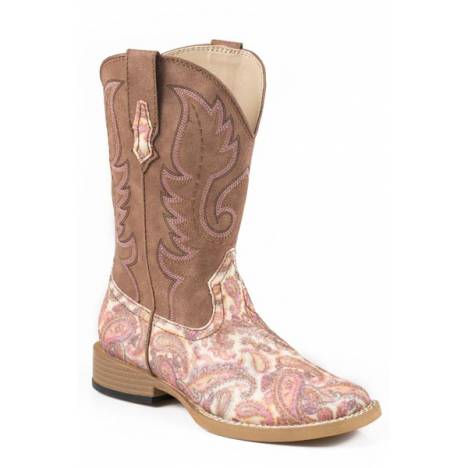 Roper Kids Glitter Paisley Bling Wide Square Toe Cowgirl Boots