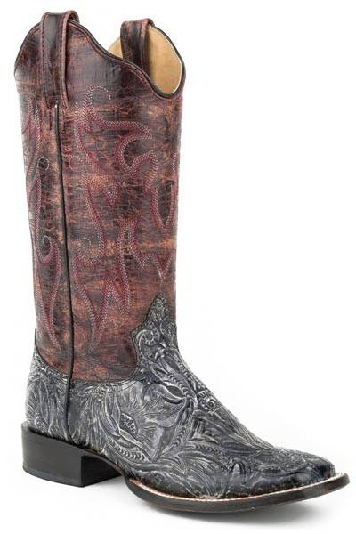Roper Ladies Audie Faux Exotic Leather Square Toe Cowgirl Boots - Black