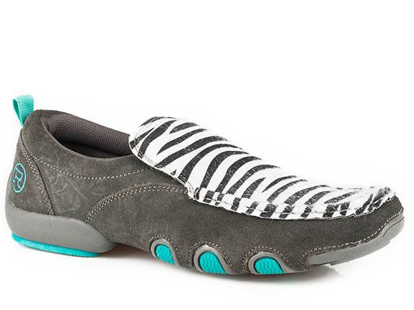 Roper Ladies Bailey Zebra Fabric And Leather Driving Mocs - Grey