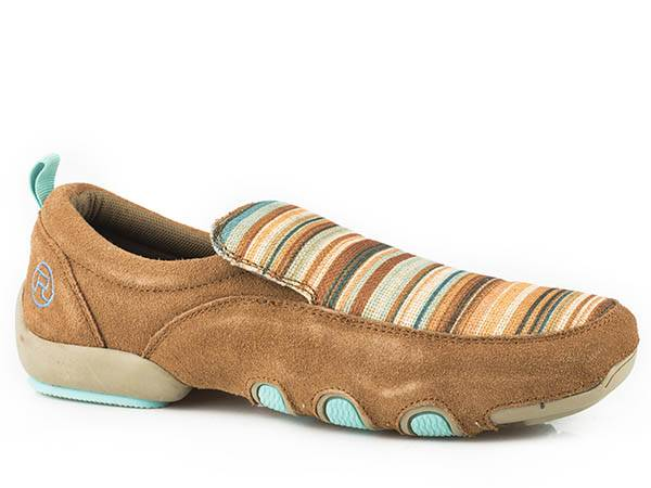 Roper Ladies Bailey Stripe Fabric And Leather Driving Mocs - Tan