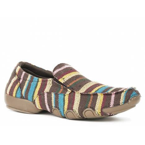 Roper Ladies Liza Fabric Slip On Driving Mocs - Brown