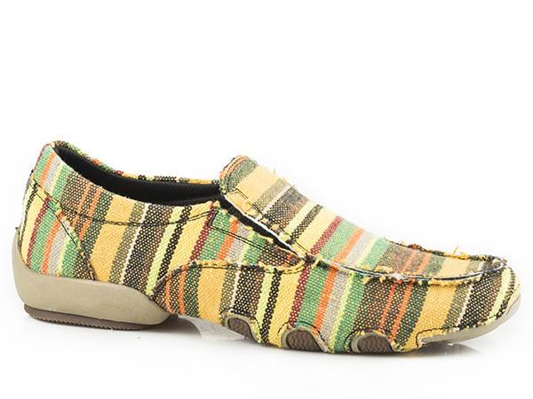 Roper Ladies Liza Fabric Slip On Driving Mocs - Gold/Brown