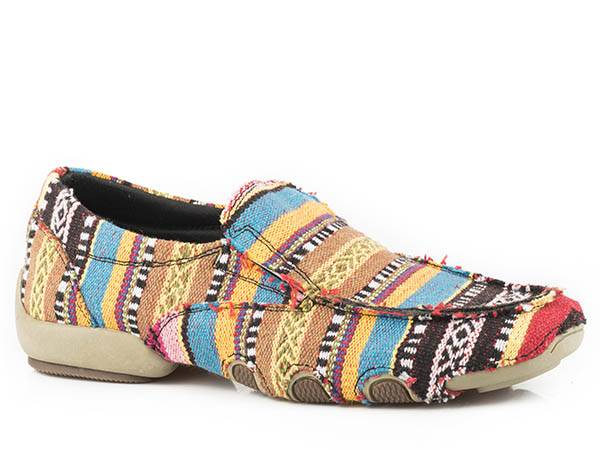 Roper Ladies Liza Southwest Fabric Slip On Driving Mocs - Gold/Tan