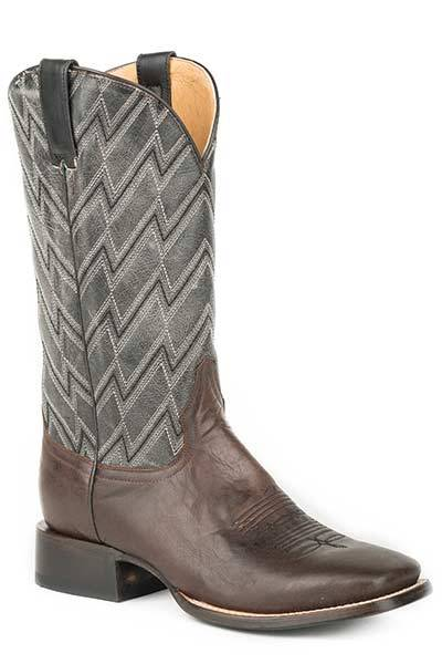 Roper Mens Chevron Embroidered Square Toe Cowboy Boots - Brown/Grey
