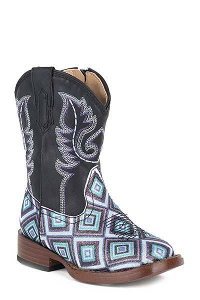 Roper Toddler Glitter Diamonds Bling Wide Square Toe Cowgirl Boots