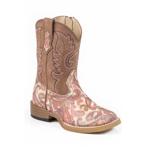 Roper Toddler Glitter Paisley Bling Wide Square Toe Cowgirl Boots