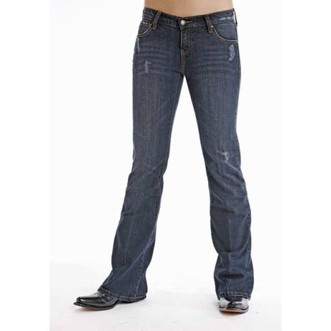 Stetson Ladies 816 Destructed Ink Wash Denim Boot Cut Jeans