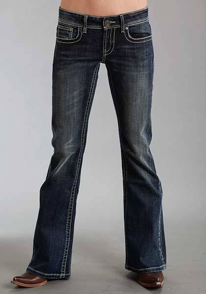 Stetson Ladies 816 Fit Double Row Rhinestones Back Pocket Flared Leg Jeans