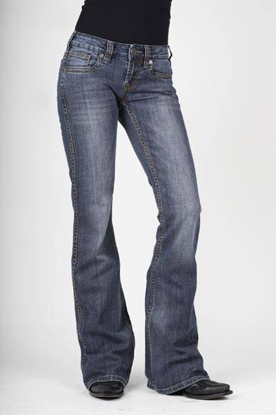 Stetson Ladies 816 Fit Multi Color Thick Stitching Flared Leg Jeans