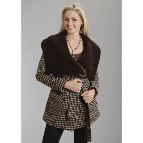 Stetson Ladies Fall I Brushed Twill Plaid Jacket - Brown