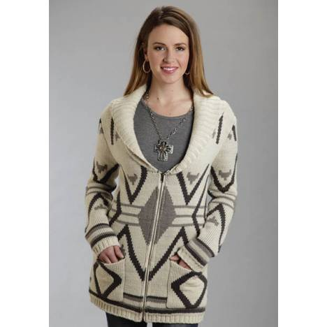 Stetson Ladies Fall II Aztec Intarsia Zipper Front Cardigan