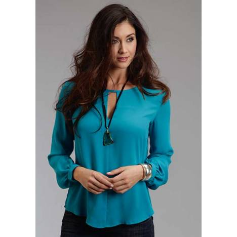 Stetson Ladies Fall II Poly Crepe Peasant Blouse - Blue