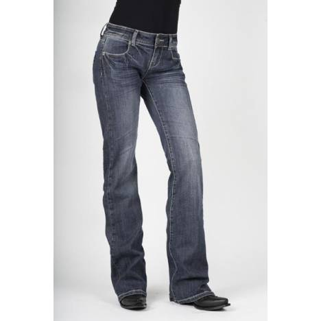 Stetson Ladies Medium Wash Heavy Pocket Stitch Flared Leg Jeans