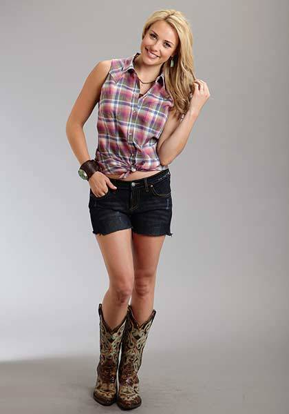 Stetson Ladies Spring I Plaid Sleeveless Western Snap Shirt - Orchid