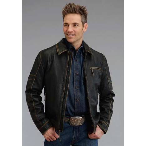 Stetson Mens Antique Finish Leather Jacket