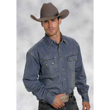 Stetson Mens Blue Lagoon Denim Deep Curved Yoke Long Sleeve Snap Shirt