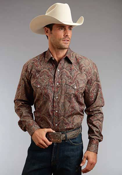 Stetson Mens Fall I Imperial Paisley Print Long Sleeve Snap Shirt