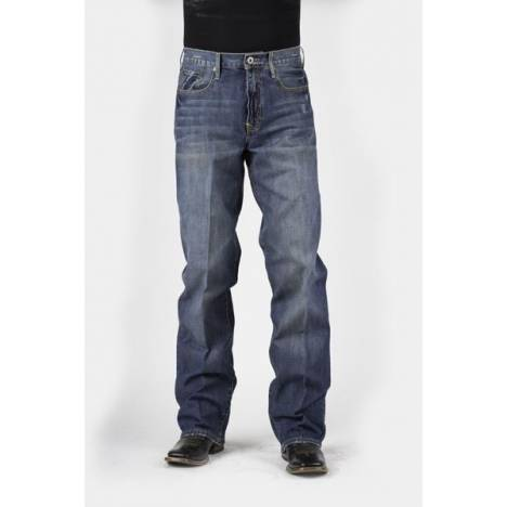 Stetson Mens Medium To Dark Wash Tacking And Whisker Jeans