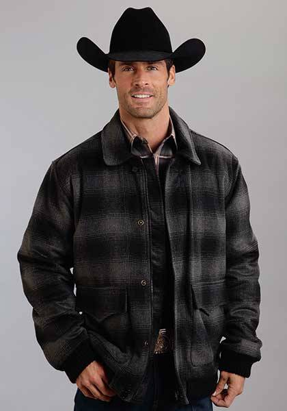 Stetson Mens Plaid Wool Blend Jacket - Black/Grey