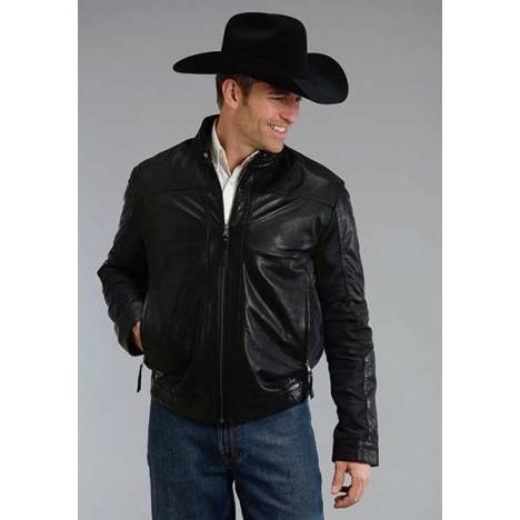 Stetson Mens Smooth Lamb Leather Jacket - Black