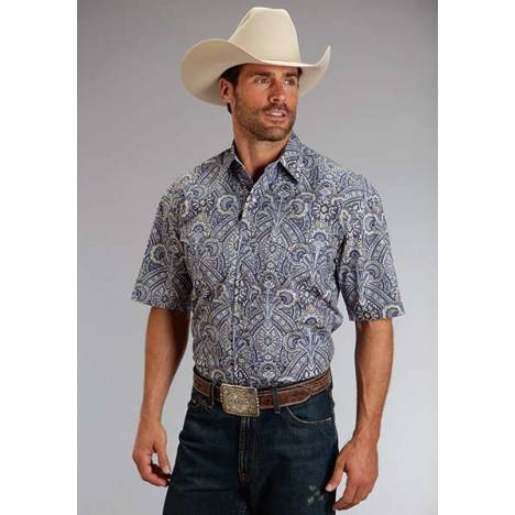Stetson Mens Spring II Plaza Paisley Short Sleeve Snap Shirt