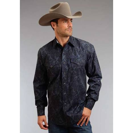 Stetson Mens Winter III Spotted Paisley Long Sleeve Snap Shirt