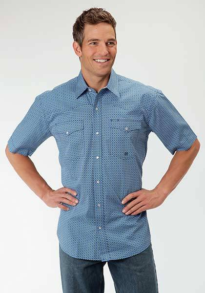 Roper Mens Amarillo Circle Square Geo Curved Yoke Short Sleeve Snap Shirt