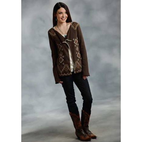 Roper Ladies Aztec Cross Stitch Terry Cardigan