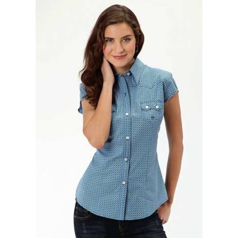 Roper Ladies Circle Square Geo Short Sleeve Button Shirt