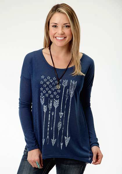 Roper Ladies Fun Arrow Flag Print Slouchy T-Shirt