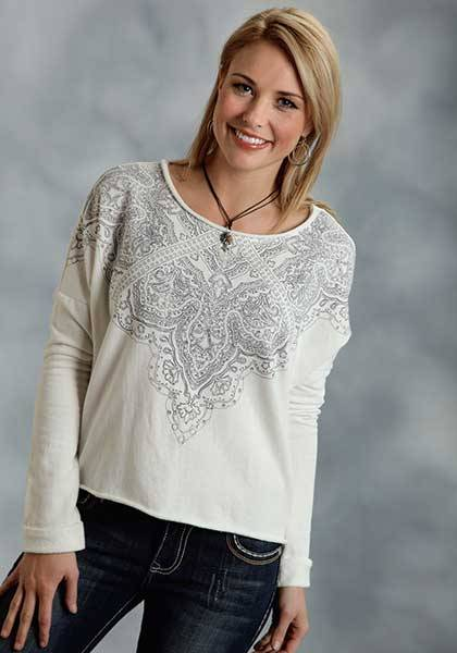 Roper Ladies Legend Keeper Paisley Print Terry Cropped Shirt