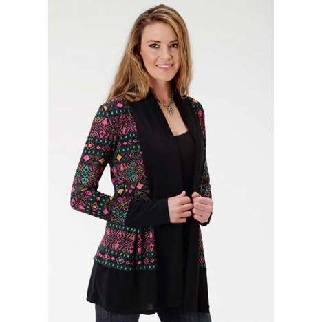 Roper Ladies Plus Size Folk Magic Spandex Jersey Cardigan